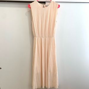 & other stories pink pleated long dress size 4